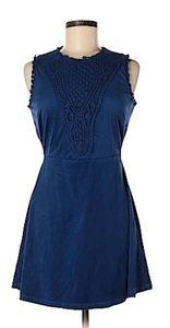 Bongo Blue Sleeveless Suede Like Dress